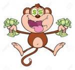 singe heureux billets dollars